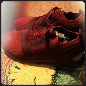 Burgundy Under Armor sneakers